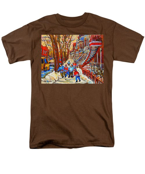The Red Staircase Painting By Montreal Streetscene Artist Carole Spandau Men's T-Shirt  (Regular Fit) by Carole Spandau