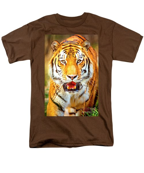 Tiger On The Hunt Men's T-Shirt  (Regular Fit) by David Millenheft