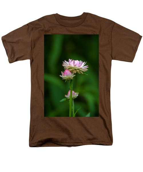 Men's T-Shirt  (Regular Fit) featuring the photograph Tiny Dahlias Green Aura by Byron Varvarigos