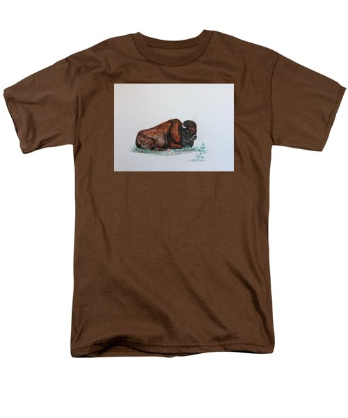 Men's T-Shirt  (Regular Fit) featuring the drawing Tired Bison by Ellen Canfield