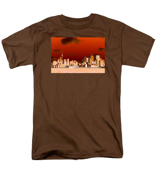 Men's T-Shirt  (Regular Fit) featuring the photograph Toronto Red Skyline by Valentino Visentini