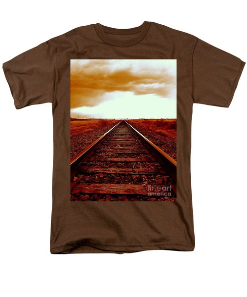 Marfa Texas America Southwest Tracks To California Men's T-Shirt  (Regular Fit) by Michael Hoard