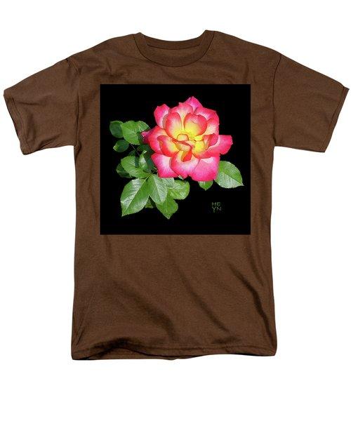 Tri-color Pink Rose2 Cutout Men's T-Shirt  (Regular Fit) by Shirley Heyn