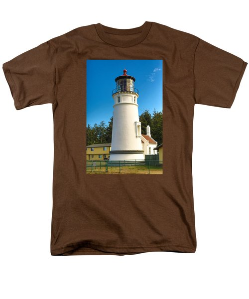 Men's T-Shirt  (Regular Fit) featuring the tapestry - textile Umpqua River Lighthouse by Dennis Bucklin