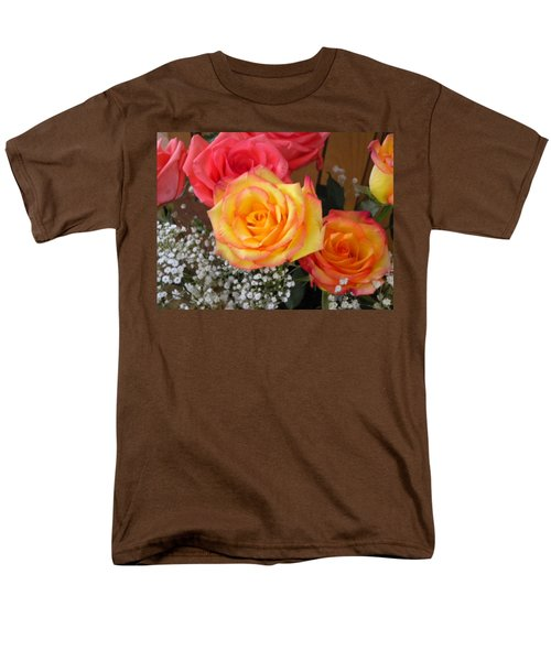 Men's T-Shirt  (Regular Fit) featuring the painting Valentine's Day Roses 2 by Renate Nadi Wesley