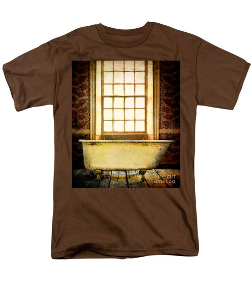 Vintage Clawfoot Bathtub By Window Men's T-Shirt  (Regular Fit) by Jill Battaglia