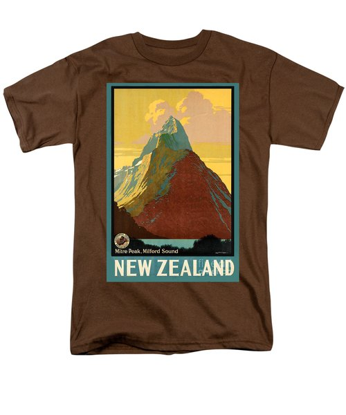 Vintage New Zealand Travel Poster Men's T-Shirt  (Regular Fit) by George Pedro