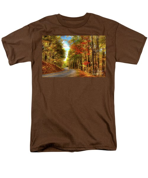 Men's T-Shirt  (Regular Fit) featuring the painting Vivid Autumn In The Blue Ridge Mountains Ap by Dan Carmichael