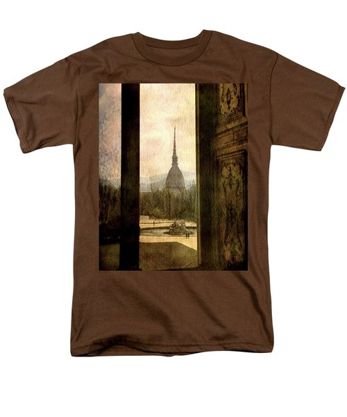 Watching Antonelliana Tower From The Window Men's T-Shirt  (Regular Fit) by Vittorio Chiampan