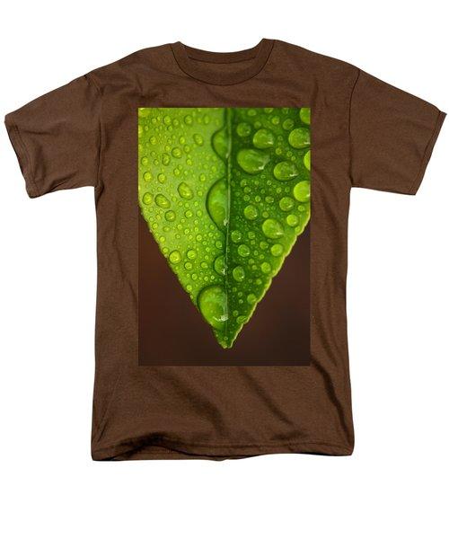 Water Droplets On Lemon Leaf Men's T-Shirt  (Regular Fit) by Ralph A  Ledergerber-Photography