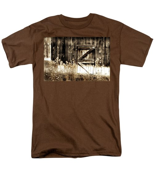 Men's T-Shirt  (Regular Fit) featuring the photograph Weathered Barn Door by Gray  Artus
