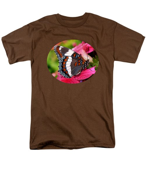 White Admiral Butterfly On Pink Flowers Men's T-Shirt  (Regular Fit) by Christina Rollo