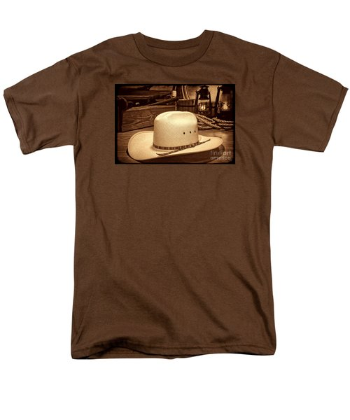 White Cowboy Hat In A Barn Men's T-Shirt  (Regular Fit) by American West Legend By Olivier Le Queinec