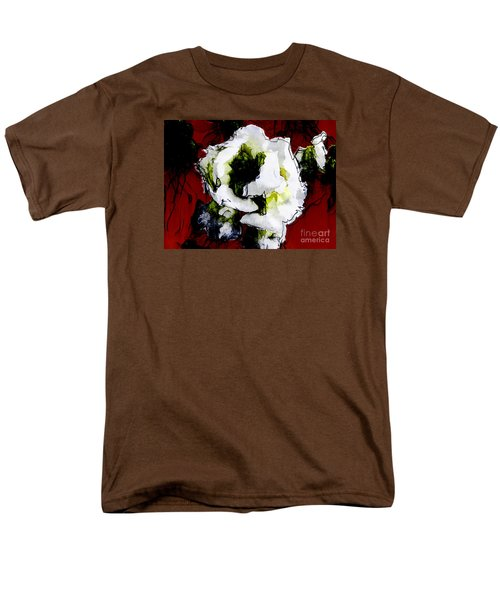 White Flower On Red Background Men's T-Shirt  (Regular Fit) by Craig Walters