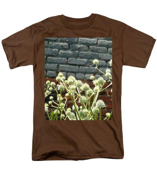 White Flowers And Bricks Men's T-Shirt  (Regular Fit) by Susan Lafleur