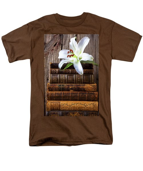 White Lily On Antique Books Men's T-Shirt  (Regular Fit) by Garry Gay