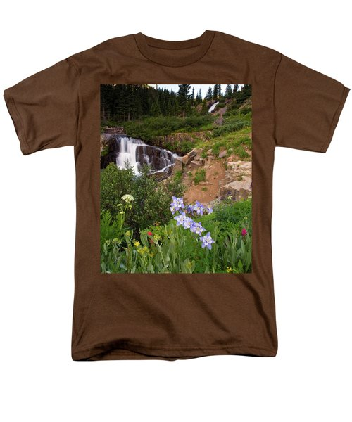 Men's T-Shirt  (Regular Fit) featuring the photograph Wild Flowers And Waterfalls by Steve Stuller