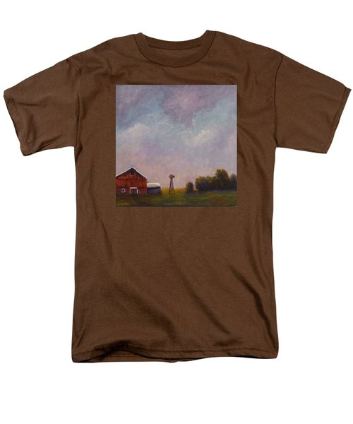 Men's T-Shirt  (Regular Fit) featuring the painting Windmill Farm Under A Stormy Sky. by Dan Wagner