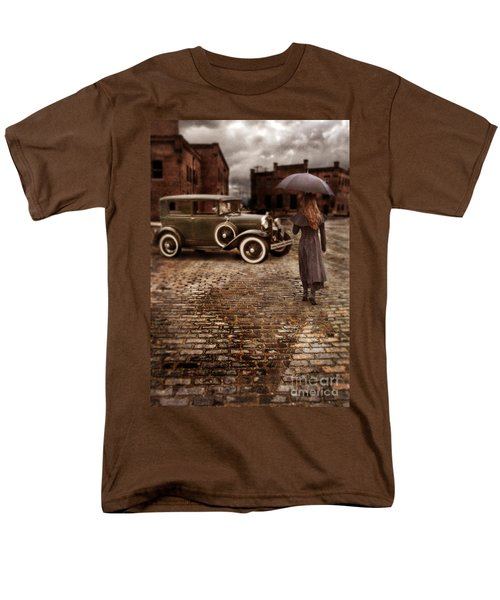 Woman With Umbrella By Vintage Car Men's T-Shirt  (Regular Fit) by Jill Battaglia