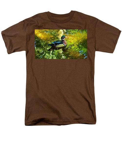Wood Duck In Lights Men's T-Shirt  (Regular Fit) by Judy Wanamaker