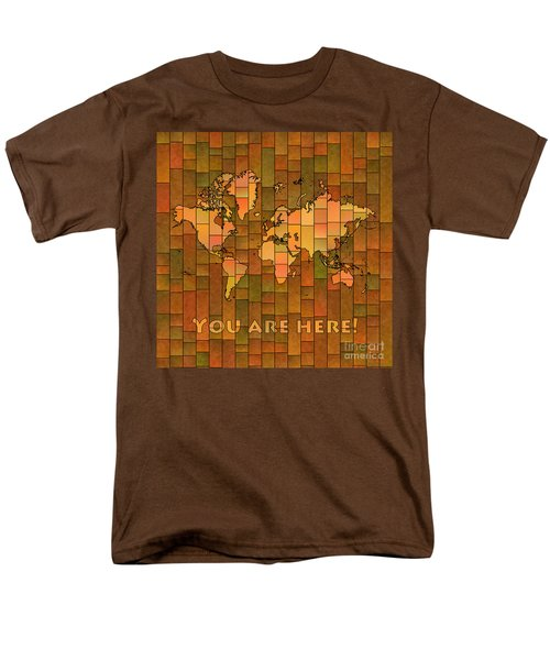 World Map Glasa You Are Here Brown Orange Green Men's T-Shirt  (Regular Fit) by Eleven Corners
