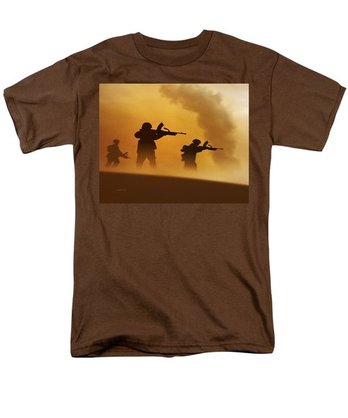 Men's T-Shirt  (Regular Fit) featuring the digital art Ww2 British Soldiers On The Attack by John Wills
