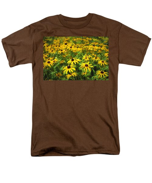 Men's T-Shirt  (Regular Fit) featuring the digital art Yellow Painted Petals by Terry Cork