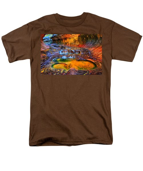 Men's T-Shirt  (Regular Fit) featuring the photograph Zion Subway Falls by Greg Norrell