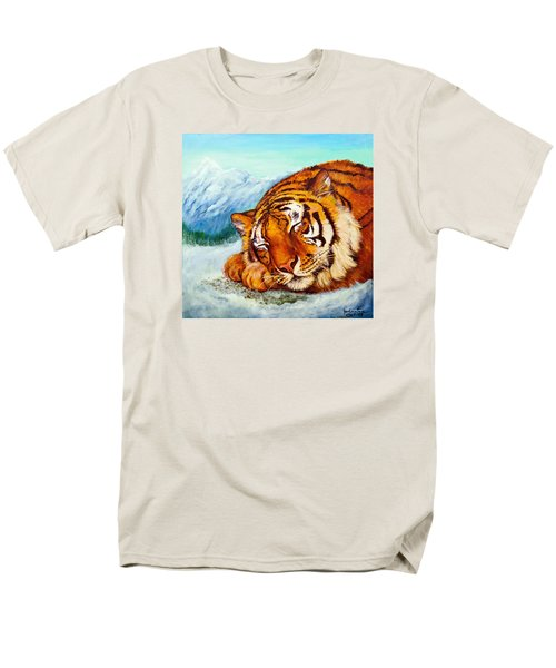 Men's T-Shirt  (Regular Fit) featuring the painting  Tiger Sleeping In Snow by Bob and Nadine Johnston