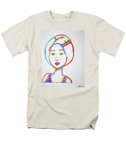Men's T-Shirt  (Regular Fit) featuring the painting Anime Asian Girl by Stormm Bradshaw