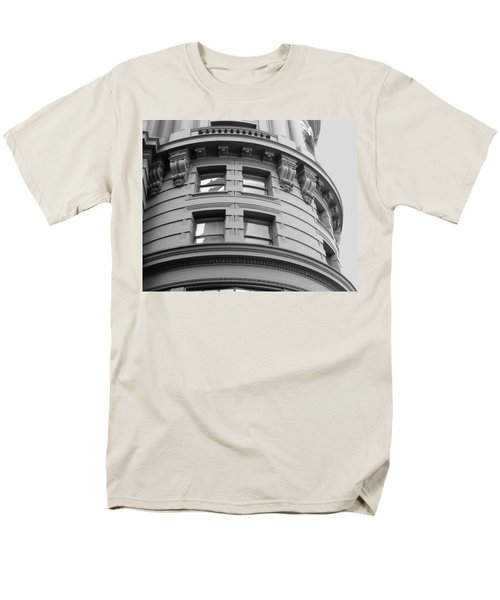 Men's T-Shirt  (Regular Fit) featuring the photograph Circular Building Details San Francisco Bw by Connie Fox