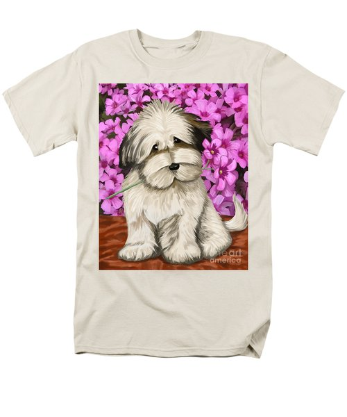 Men's T-Shirt  (Regular Fit) featuring the painting Puppy In The Flowers by Tim Gilliland