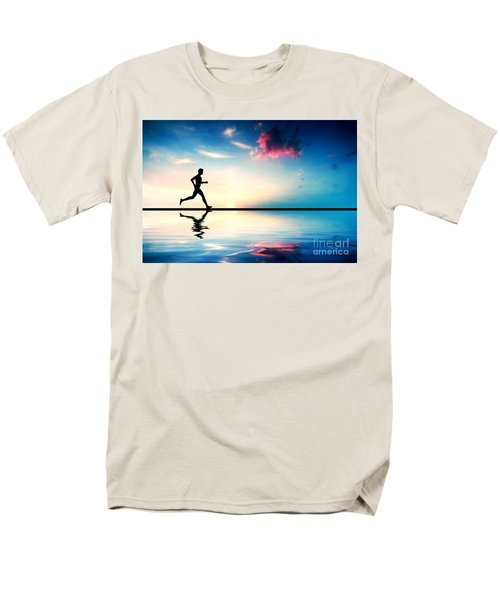 Silhouette Of Man Running At Sunset Men's T-Shirt  (Regular Fit) by Michal Bednarek