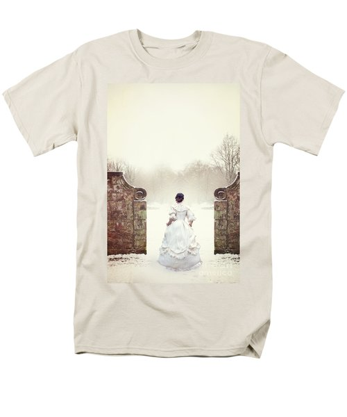 Victorian Woman In Snow Men's T-Shirt  (Regular Fit) by Lee Avison