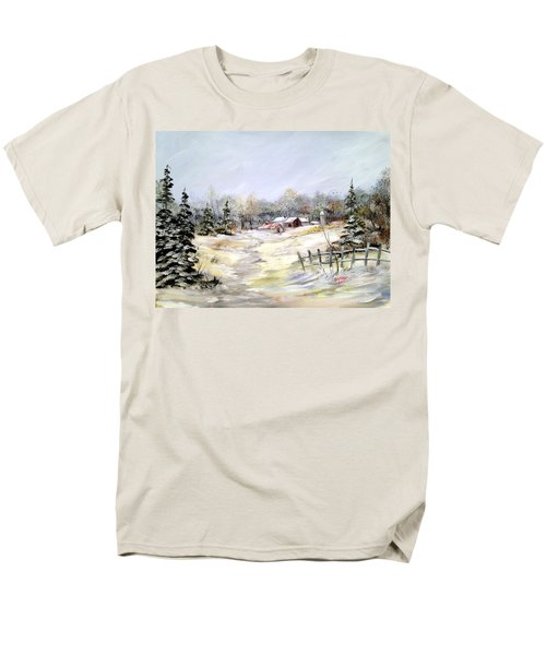 Men's T-Shirt  (Regular Fit) featuring the painting Winter At The Farm by Dorothy Maier
