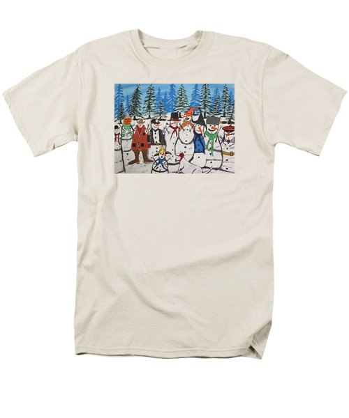 10 Christmas Snowmen  Men's T-Shirt  (Regular Fit) by Jeffrey Koss