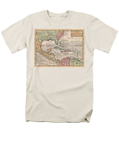 1732 Herman Moll Map Of The West Indies And Caribbean Men's T-Shirt  (Regular Fit) by Paul Fearn