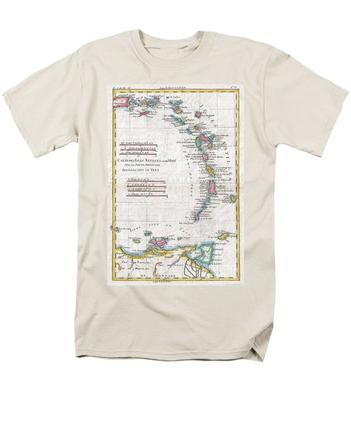 1780 Raynal And Bonne Map Of Antilles Islands Men's T-Shirt  (Regular Fit) by Paul Fearn