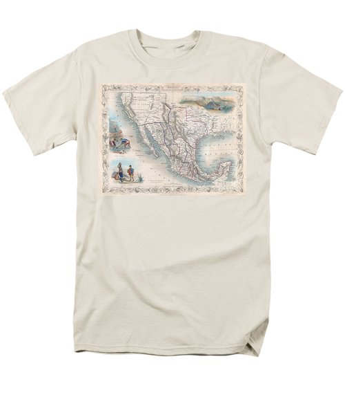 1851 Tallis Map Of Mexico Texas And California  Men's T-Shirt  (Regular Fit) by Paul Fearn