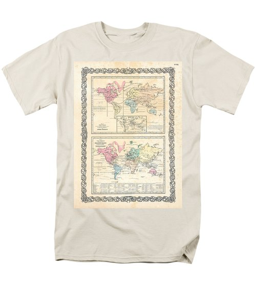 Men's T-Shirt  (Regular Fit) featuring the photograph 1855 Antique First Plate Ortelius World Map Animal Kingdom World Commerce And Navigation by Karon Melillo DeVega