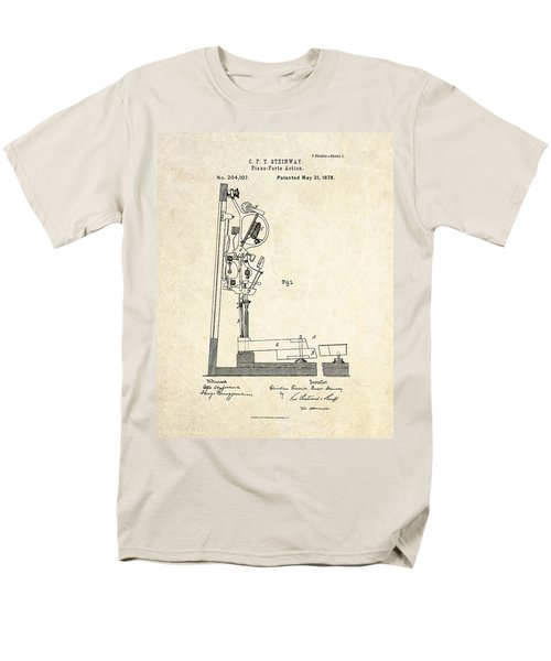 1878 Steinway Piano Forte Action Patent Art  Men's T-Shirt  (Regular Fit) by Gary Bodnar