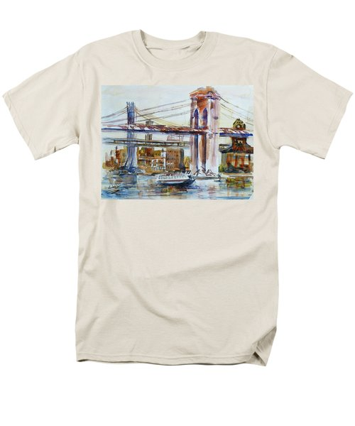 Men's T-Shirt  (Regular Fit) featuring the painting Downtown Bridge by Xueling Zou