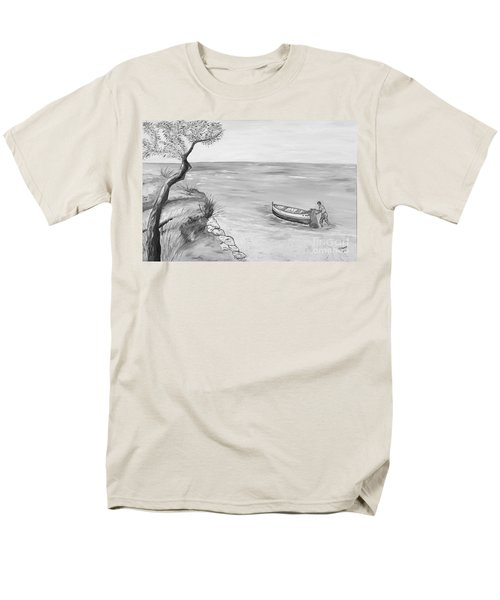 Men's T-Shirt  (Regular Fit) featuring the painting Il Pescatore Solitario by Loredana Messina