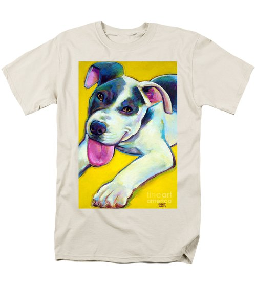 Men's T-Shirt  (Regular Fit) featuring the painting Pit Bull Puppy by Robert Phelps