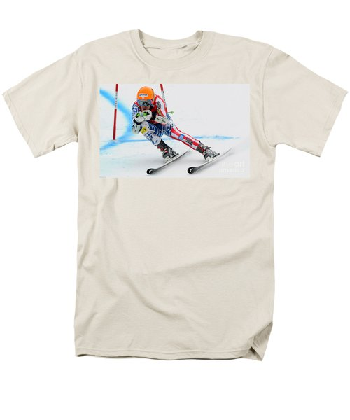 Ted Ligety Skiing  Men's T-Shirt  (Regular Fit) by Lanjee Chee