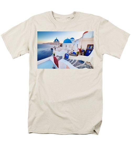 Oia Town On Santorini Greece Men's T-Shirt  (Regular Fit) by Michal Bednarek
