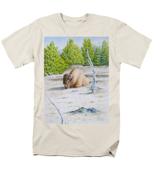 A Buffalo Sits In Yellowstone Men's T-Shirt  (Regular Fit) by Michele Myers