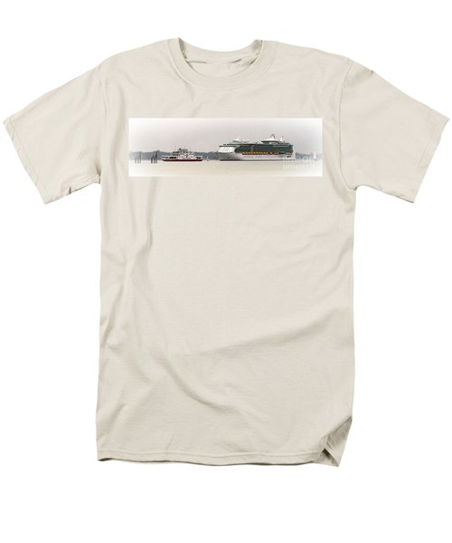 Men's T-Shirt  (Regular Fit) featuring the photograph A Ferry A Ship And Some Yachts by Linsey Williams