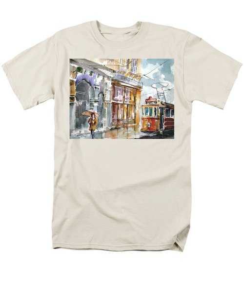 Men's T-Shirt  (Regular Fit) featuring the painting A Rainy Day In Istanbul by Faruk Koksal