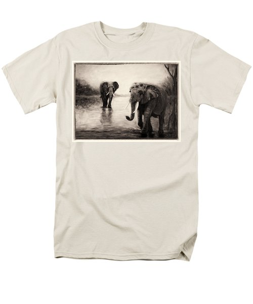African Elephants At Sunset Men's T-Shirt  (Regular Fit) by Sher Nasser